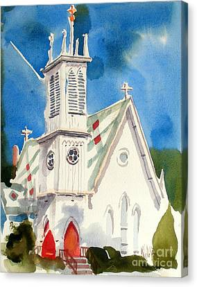 Church With Jet Contrail Canvas Print by Kip DeVore