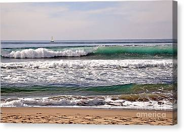 Churning Surf At Monterey Bay Canvas Print by Susan Wiedmann