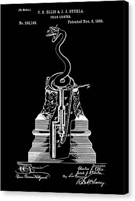 Cigar Lighter Patent 1888 - Black Canvas Print by Stephen Younts