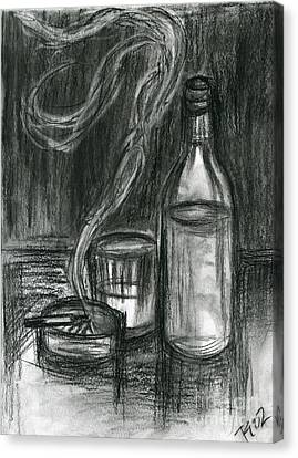 Cigarettes And Alcohol Canvas Print by Roz Abellera Art