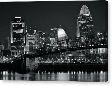 Cincinnati Black And White Lights Canvas Print by Frozen in Time Fine Art Photography