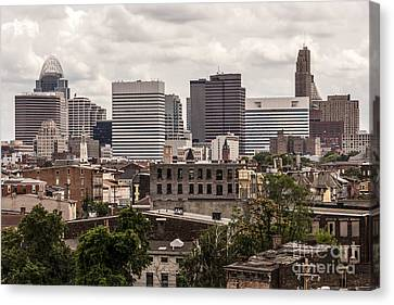 Cincinnati Skyline Old And New Buildings Canvas Print by Paul Velgos