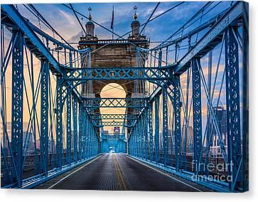 Cincinnati Suspension Bridge Canvas Print by Inge Johnsson