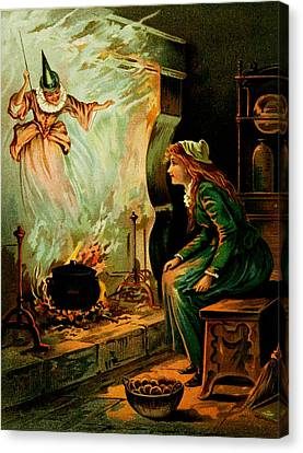 Cinderella And The Fairy Godmother Canvas Print by Mother Goose