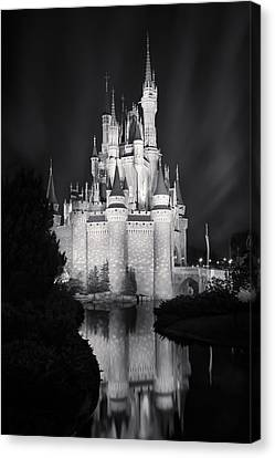 Cinderella's Castle Reflection Black And White Canvas Print by Adam Romanowicz
