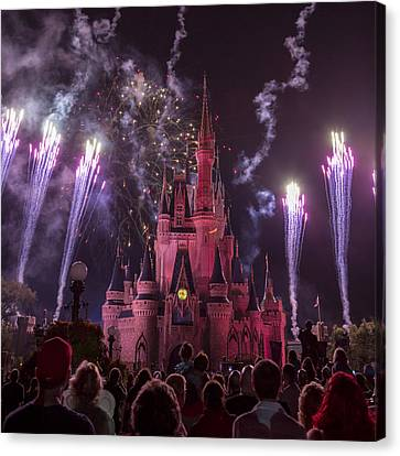 Cinderella's Castle With Fireworks Canvas Print by Adam Romanowicz