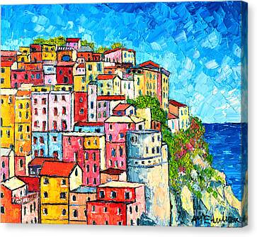 Cinque Terre Italy Manarola Colorful Houses  Canvas Print by Ana Maria Edulescu