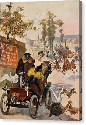 Circus Star Kidnapped Wilhio S Poster For De Dion Bouton Cars Canvas Print by Anonymous