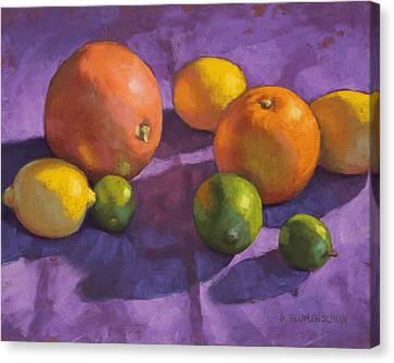 Citrus On Purple Canvas Print by Sarah Blumenschein