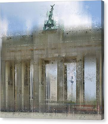 City-art Berlin Brandenburg Gate Canvas Print by Melanie Viola