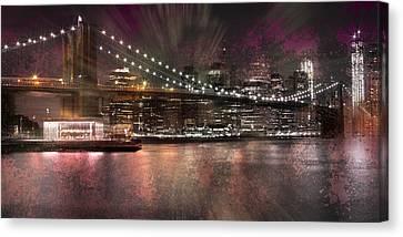 City-art Brooklyn Bridge Canvas Print by Melanie Viola