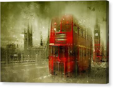 City-art London Red Buses Canvas Print by Melanie Viola