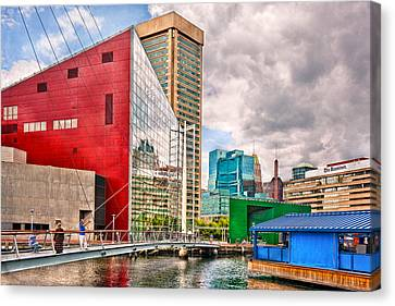 City - Baltimore Md - Harbor Place - Future City  Canvas Print by Mike Savad