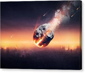 City Destroyed By Meteor Shower Canvas Print by Johan Swanepoel