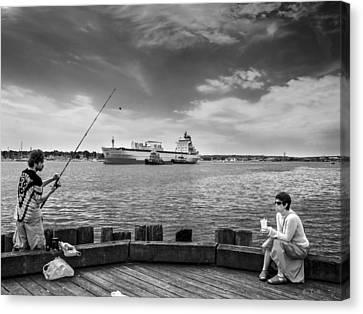 City Fishing Canvas Print by Bob Orsillo
