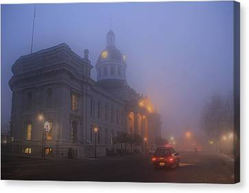 City Hall In Fog Canvas Print by Jim Vance