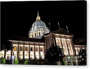 City Hall San Francisco At Night Canvas Print by Jim Fitzpatrick