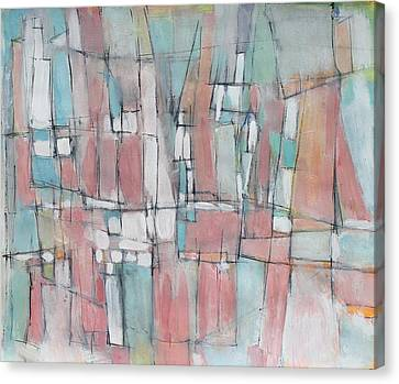 City In Peach And Turquoise Canvas Print by Hari Thomas