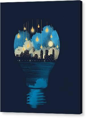 City Lights Canvas Print by Neelanjana  Bandyopadhyay
