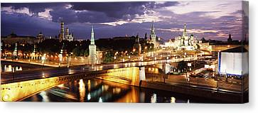City Lit Up At Night, Red Square Canvas Print by Panoramic Images