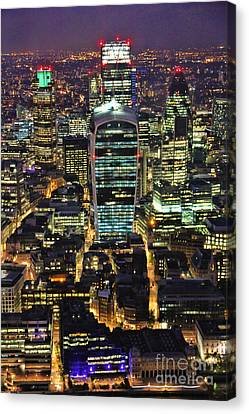 City Of London Skyline At Night Canvas Print by Jasna Buncic