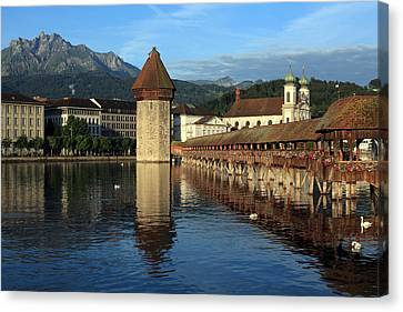 City Of Lucerne In Switzerland Canvas Print by Ron Sumners