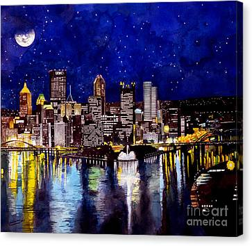 City Of Pittsburgh At The Point Canvas Print by Christopher Shellhammer