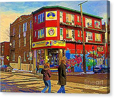City Paint Benjamin Moore Rue Rachel And Hotel And De Ville Montreals Oldest Paint Store  C Spandau  Canvas Print by Carole Spandau