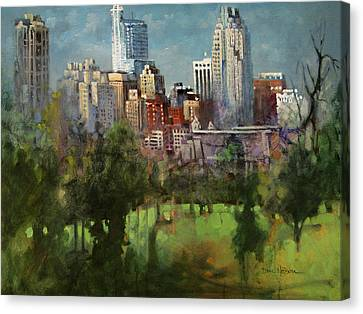 City Set On A Hill Canvas Print by Dan Nelson