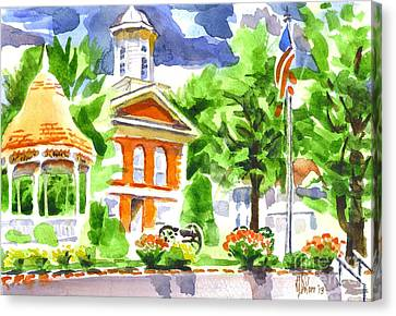 City Square In Watercolor Canvas Print by Kip DeVore