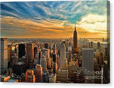 City Sunset New York City Usa Canvas Print by Sabine Jacobs