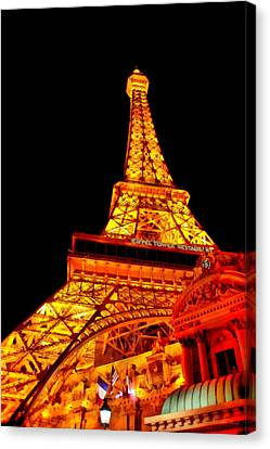 City - Vegas - Paris - Eiffel Tower Restaurant Canvas Print by Mike Savad