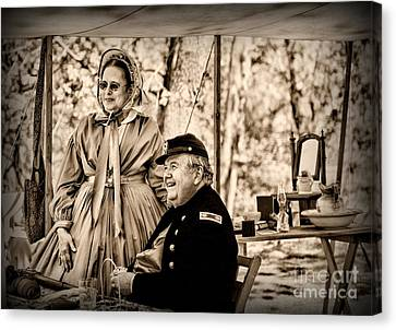 Civil War Officer And Wife Canvas Print by Paul Ward