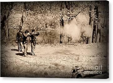 Civil War Soldiers Firing Muskets Canvas Print by Paul Ward