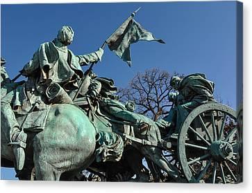 Civil War Statue In Washington Dc Canvas Print by Brandon Bourdages