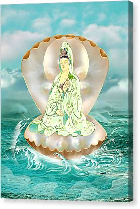 Clam-sitting Kuan Yin Canvas Print by Lanjee Chee