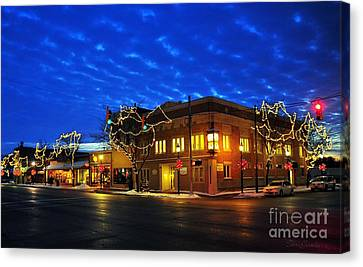 Clare Michigan At Christmas 4 Canvas Print by Terri Gostola
