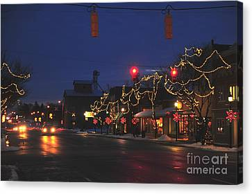 Clare Michigan At Christmas  Canvas Print by Terri Gostola
