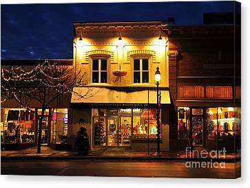 Clare Michigan Decorated For Christmas 3 Canvas Print by Terri Gostola