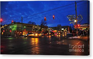 Clare Michigan Decorated For Christmas Canvas Print by Terri Gostola