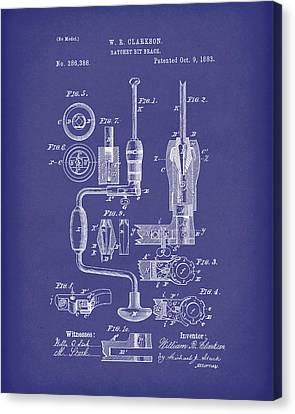 Clarkson Bit Brace 1883 Patent Art Blue Canvas Print by Prior Art Design