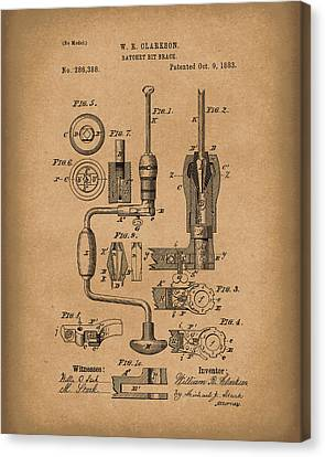 Clarkson Bit Brace 1883 Patent Art Brown Canvas Print by Prior Art Design