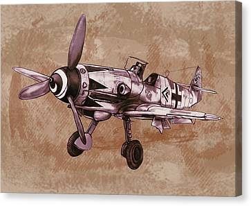 Classic Airplane In World War 2 - Stylised Modern Drawing Art Sketch Canvas Print by Kim Wang