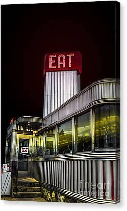 Classic American Diner At Night Canvas Print by Diane Diederich