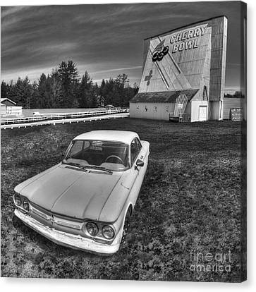 Classic Car In Front Of Cherry Bowl Drive-in Canvas Print by Twenty Two North Photography