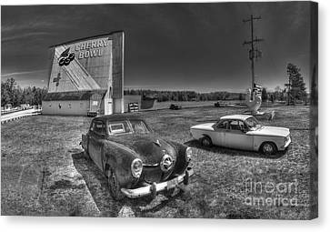 Classic Cars In Front Of Drive-in Canvas Print by Twenty Two North Photography