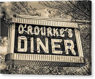 Classic Diner Neon Sign Middletown Connecticut Canvas Print by Edward Fielding