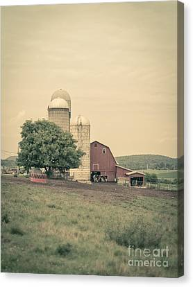 Classic Farm With Red Barn And Silos Canvas Print by Edward Fielding
