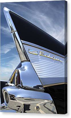 Classic Fin - 57 Chevy Belair Canvas Print by Mike McGlothlen