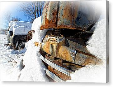 Classic Ford Pickup Truck In The Snow Canvas Print by Edward Fielding